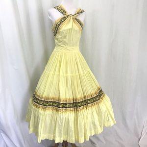 50s Jeanette's Originals Yellow Circle Dress XS